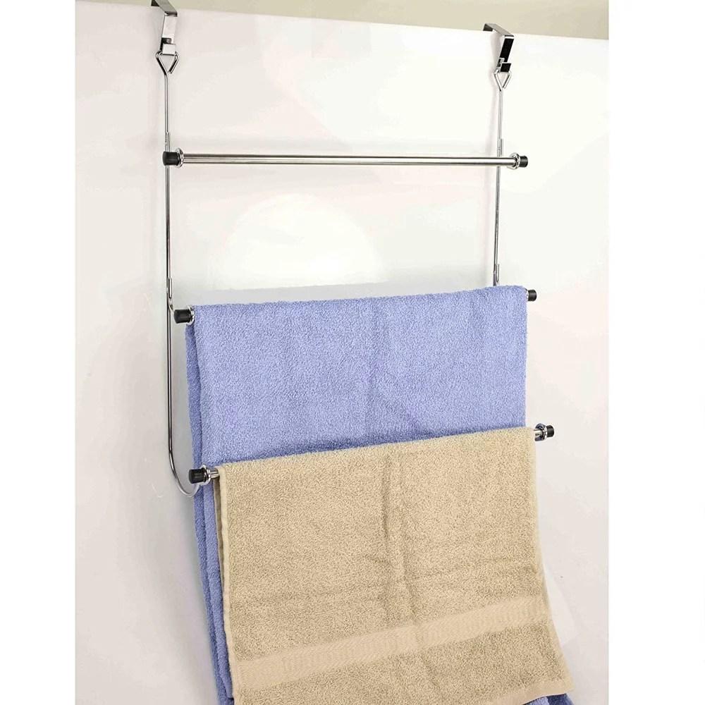 bed bath n more 3 tier over the door towel rack chrome