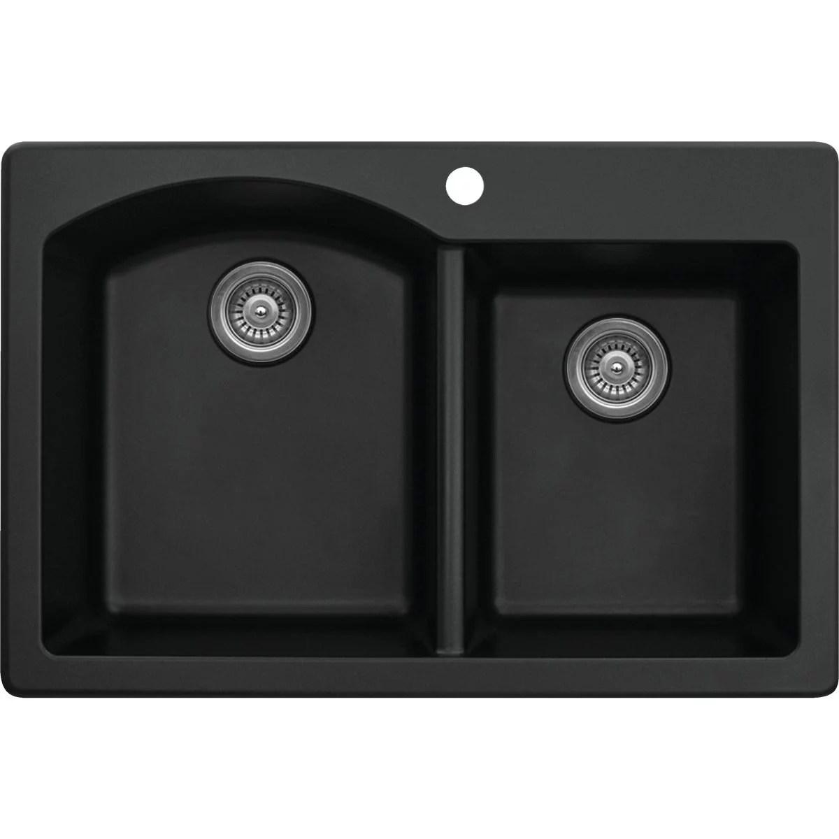 karran double bowl 33 in x 22 in x 9 in deep black quartz kitchen sink