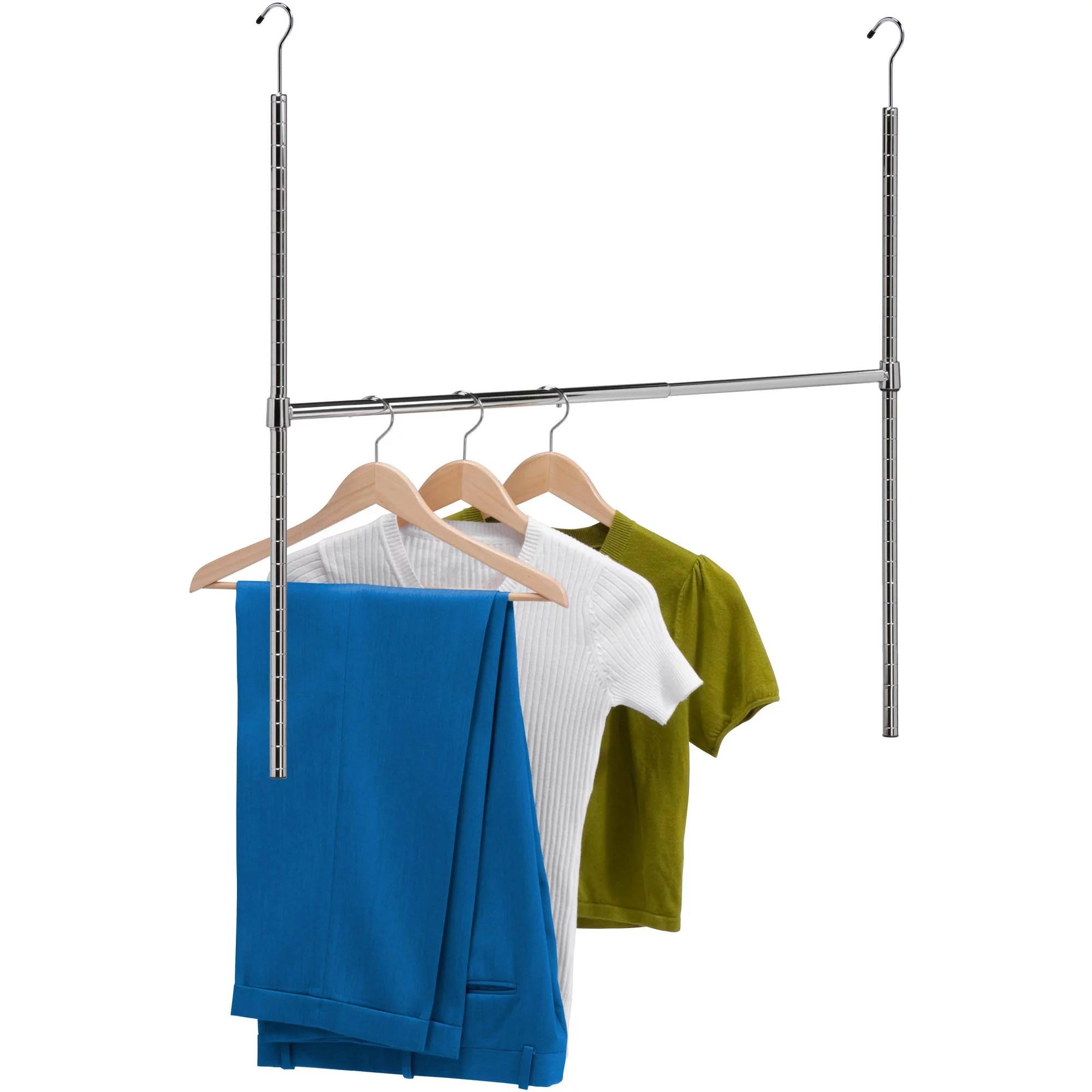 honey can do adjustable hanging closet rod chrome