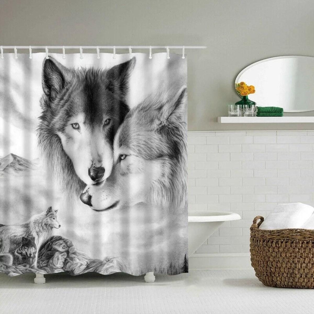 180x180cm winter white grey wolf shower curtain bathroom waterproof polyester bath curtains 12pcs hooks walmart com