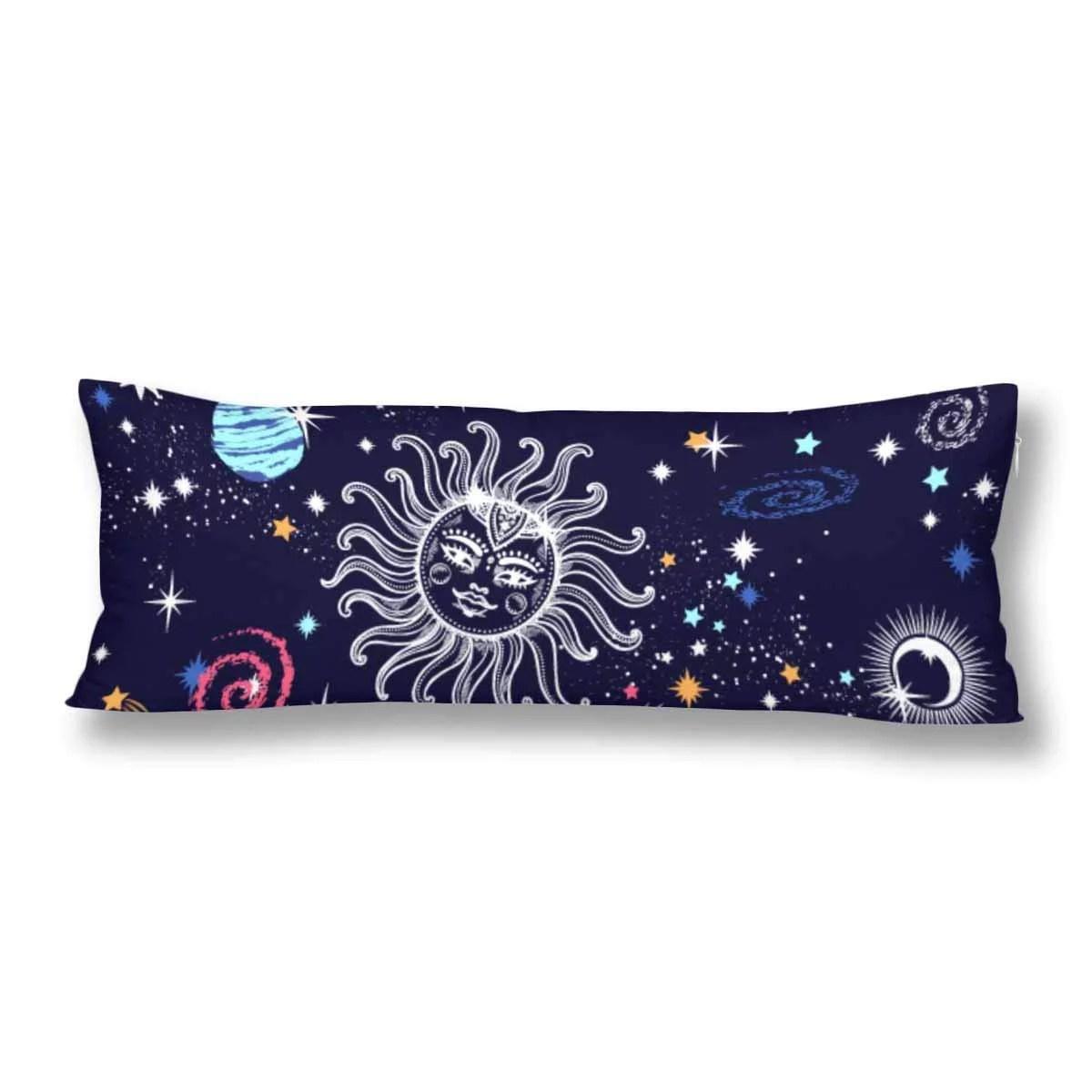 abphoto galaxy sun and moon body pillow covers pillowcase throw pillows 20x60 inch