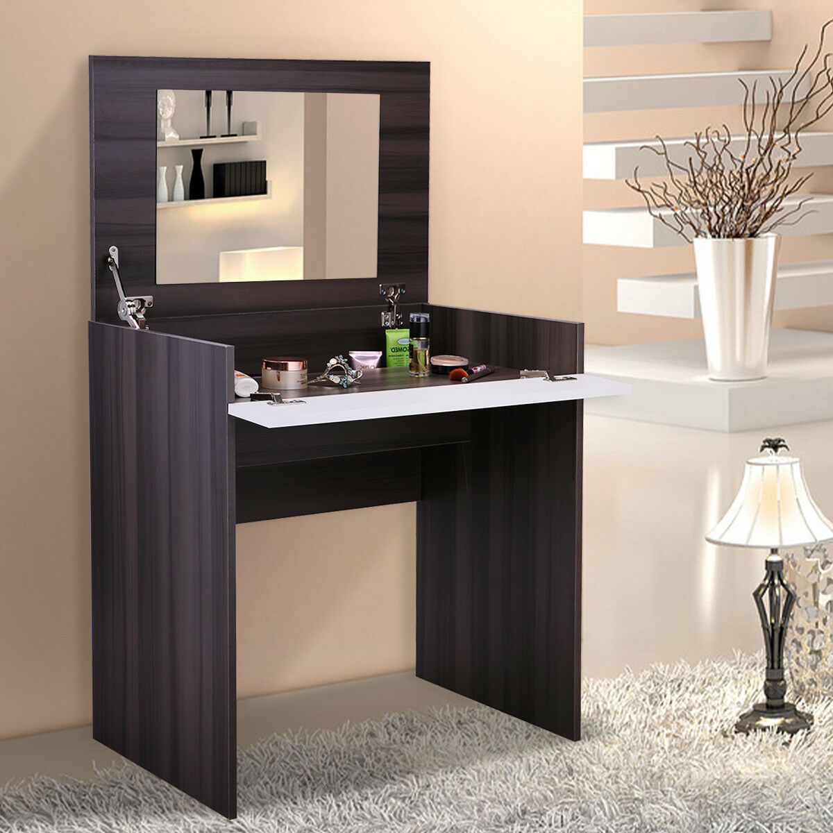 lowestbest dressing table vanity ebony white dressing vanity table desk for bedroom bathroom closet hallway makeup vanity table with flip up