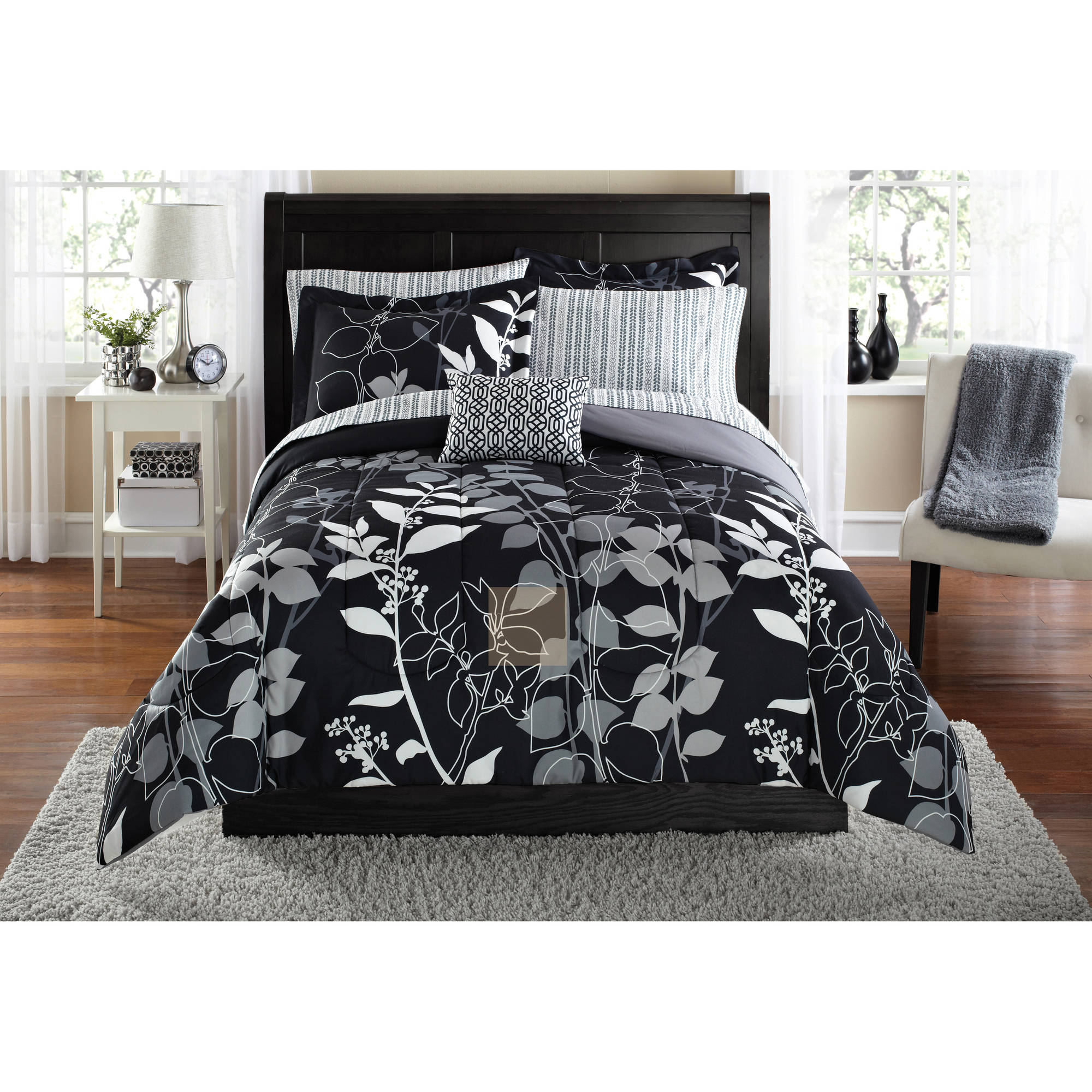 mainstays orkaisi bed in a bag coordinated bedding twin twin xl black