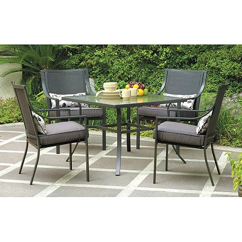 mainstays alexandra square 5 piece outdoor patio dining set grey with leaves