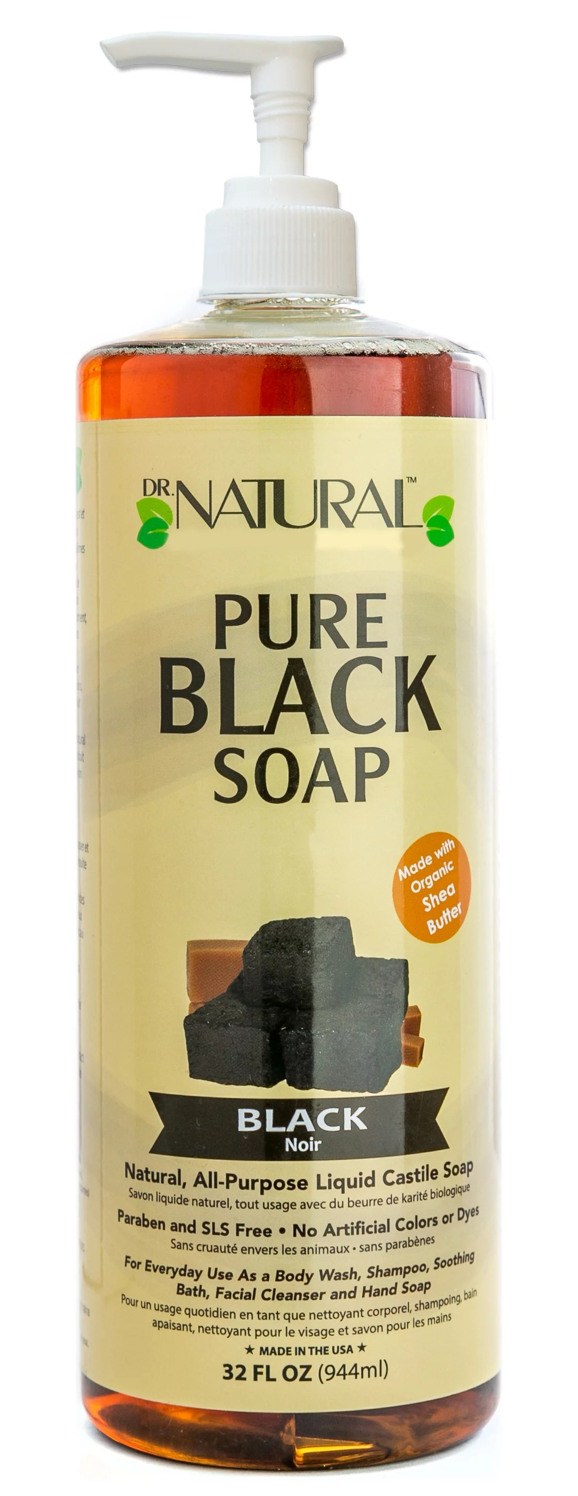 Dr Natural Pure Black Soap Natural All Purpose Liquid Castile Soap 32 Oz With Pump Walmart Com Walmart Com