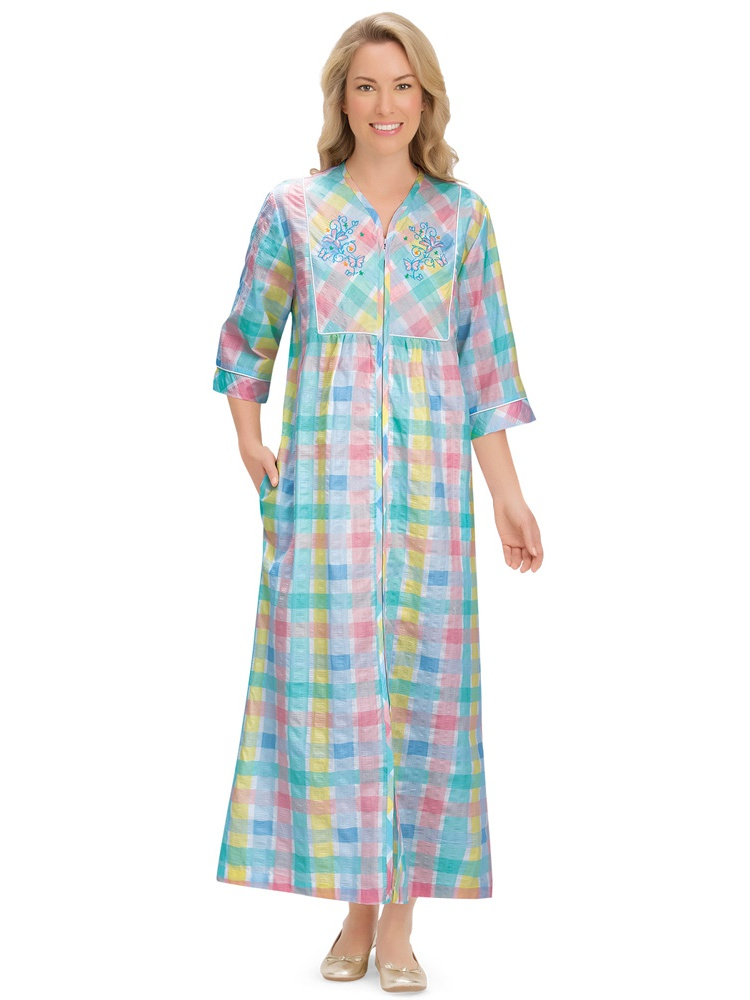 pastel plaid lounger zipper house dress with side pockets embroidered yoke