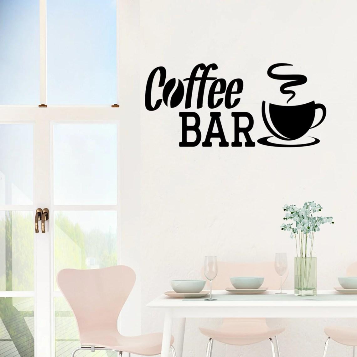 Coffee Bar Wall Decal Quote Pantry Wall Art Stickers Kitchen Wall Decor Jm197 L Walmart Com Walmart Com