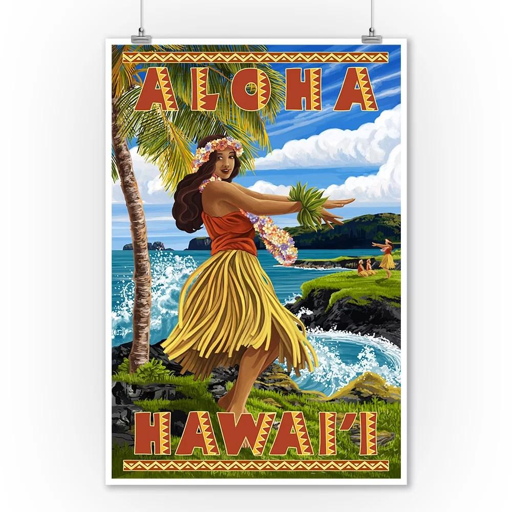 hula girl on coast aloha hawaii lantern press poster 9x12 art print wall decor travel poster