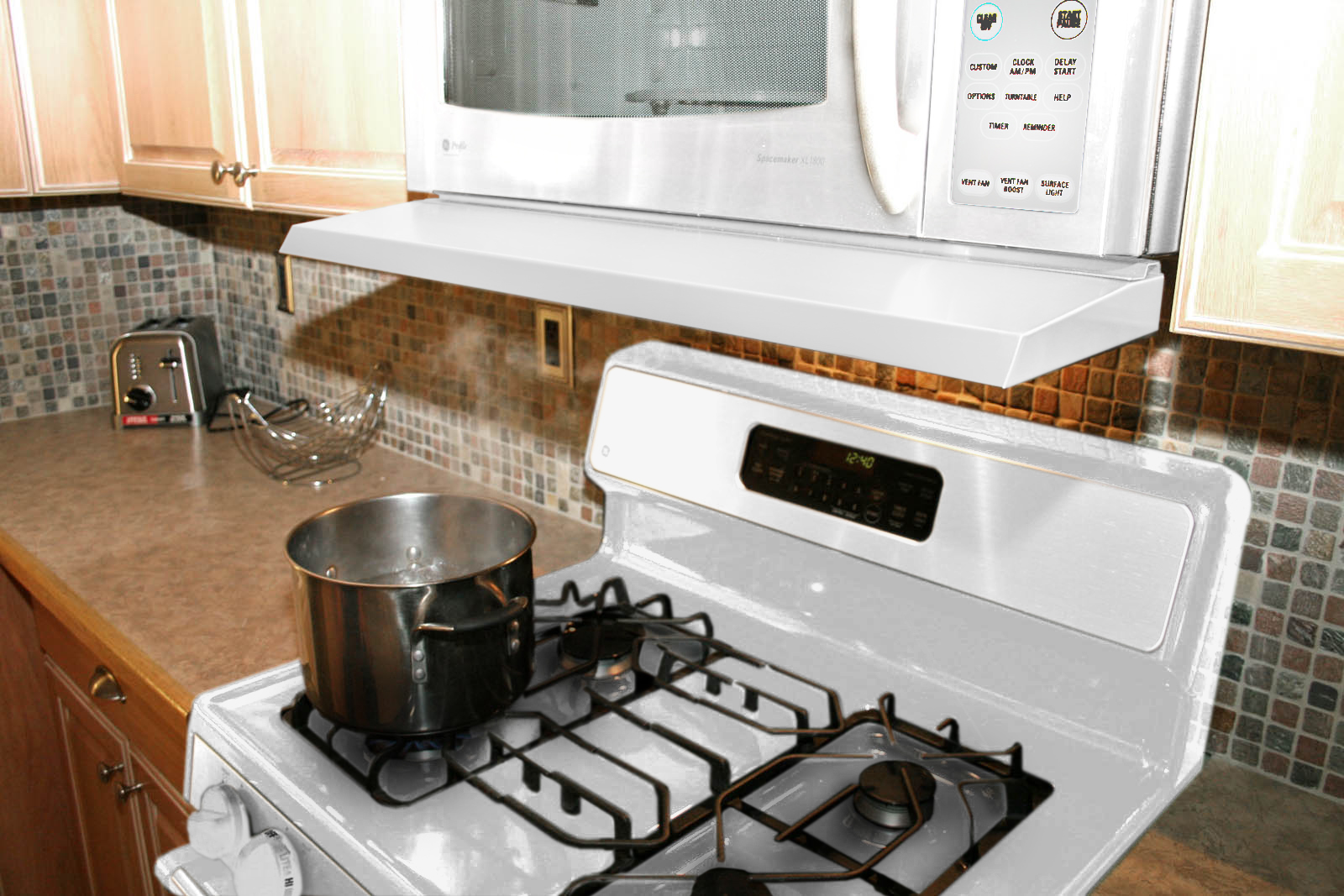 microvisor removable mini hood extension for microwave over the range white