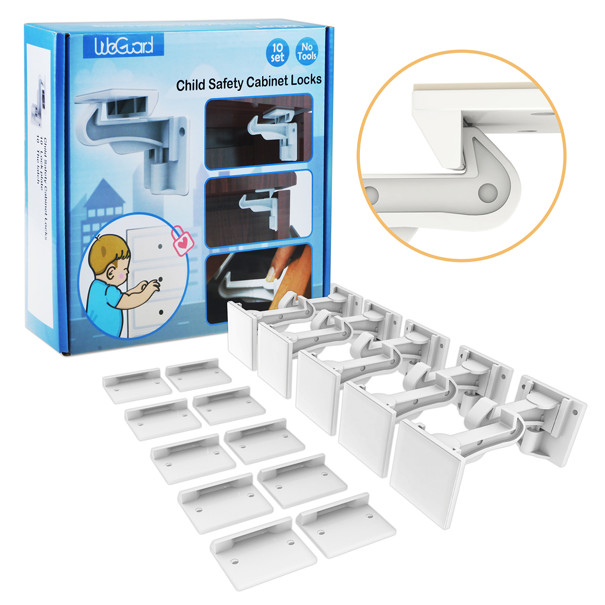 Cabinet Locks Child Safety Ablegrid 10 Pack Invisible