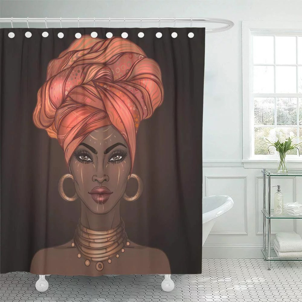 pknmt african american pretty girl of black woman with glossy lips and turban great waterproof bathroom shower curtains set 66x72 inch