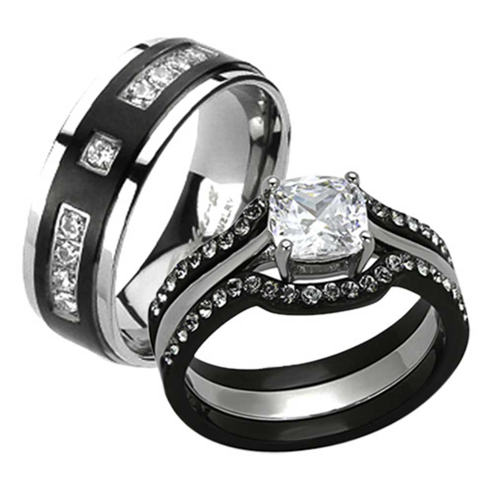 marimor jewelry his her 4pc black silver stainless steel titanium wedding ring band set size women s 10 men s 06 walmart com