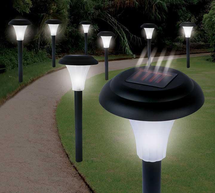 pure garden solar powered black accent lights set of 8 walmart com