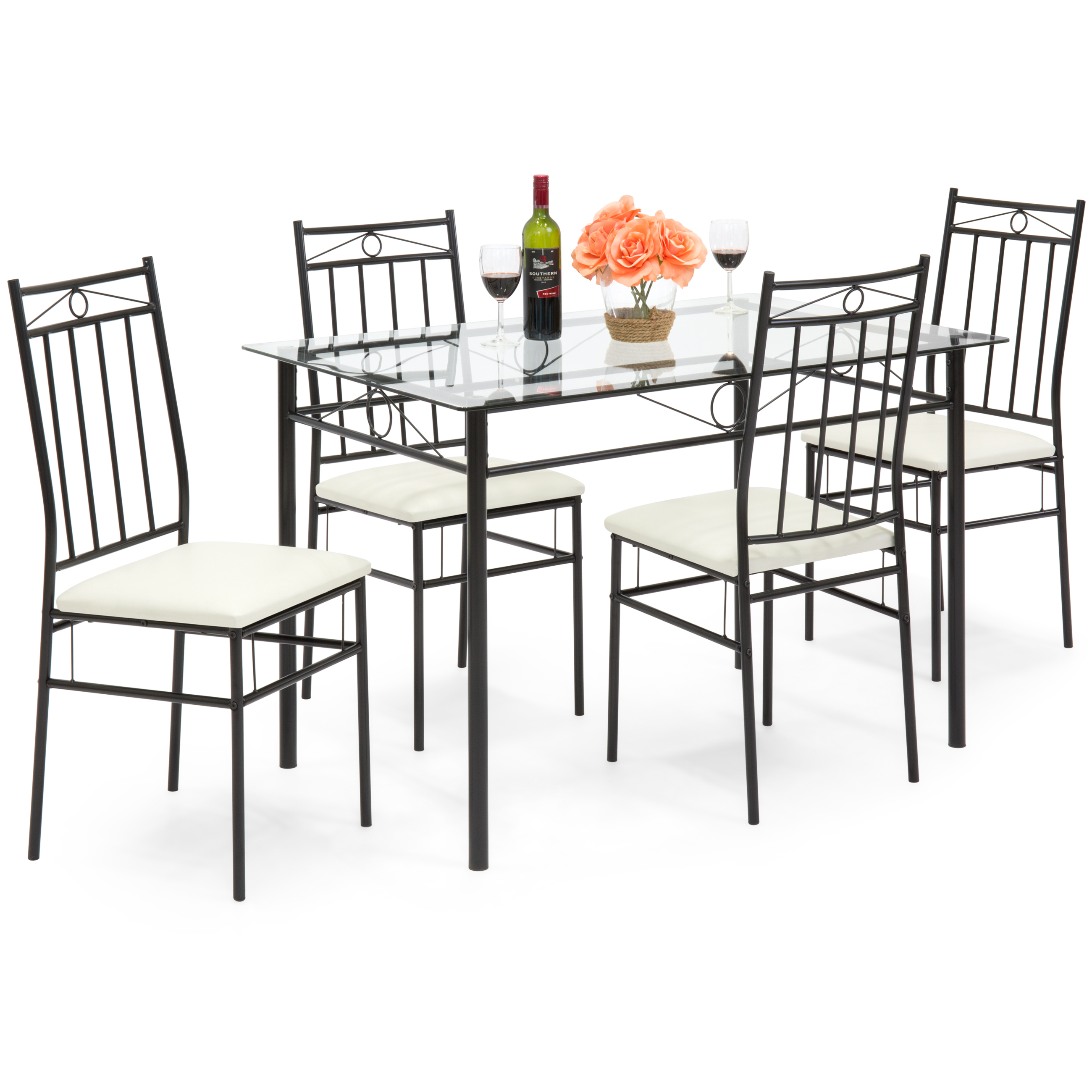 Best Choice Products 5 Piece Modern Glass Table Dining Set
