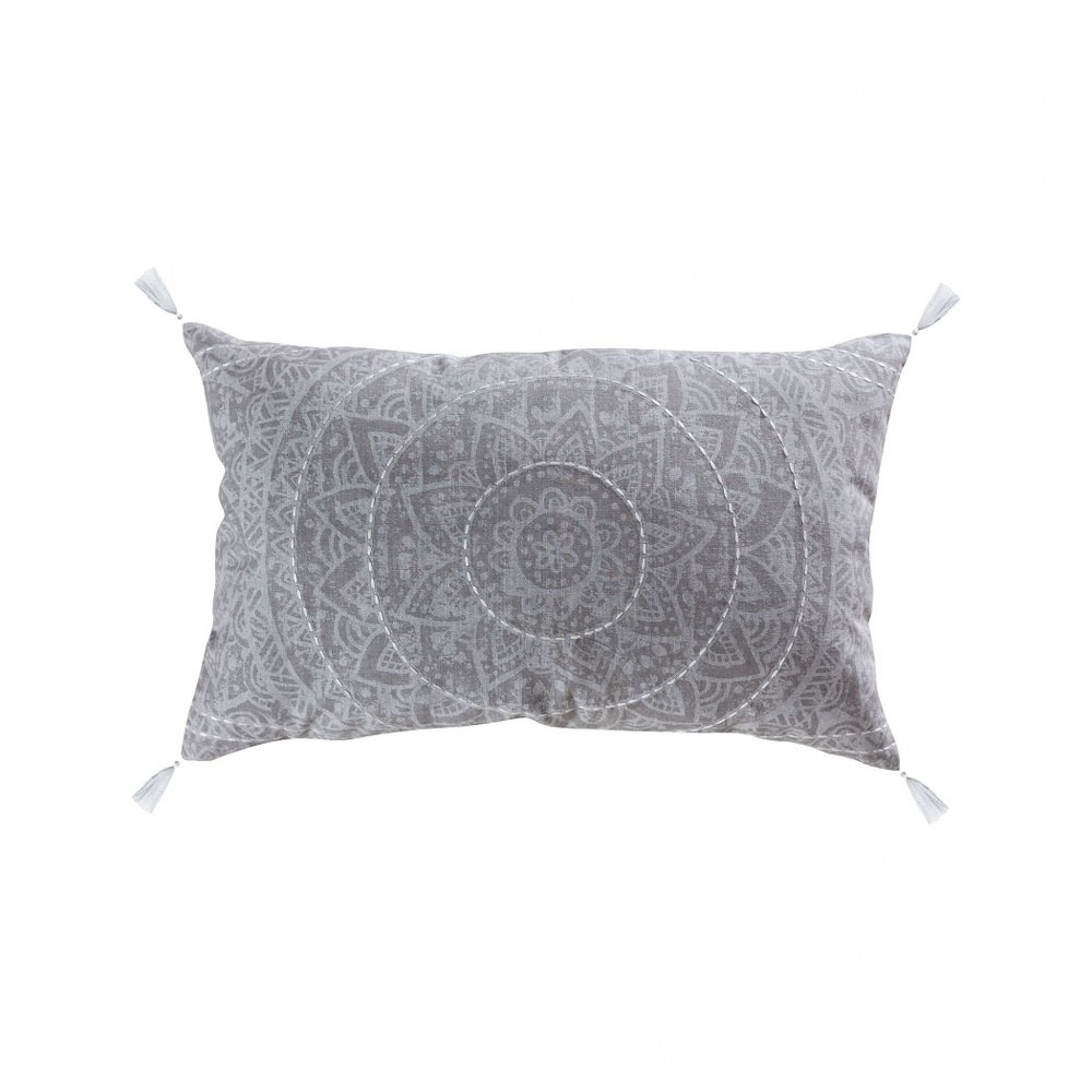 grey and white lumbar pillow cover with tassles 16x26 inch lumbar pillow cover only crema grey walmart com