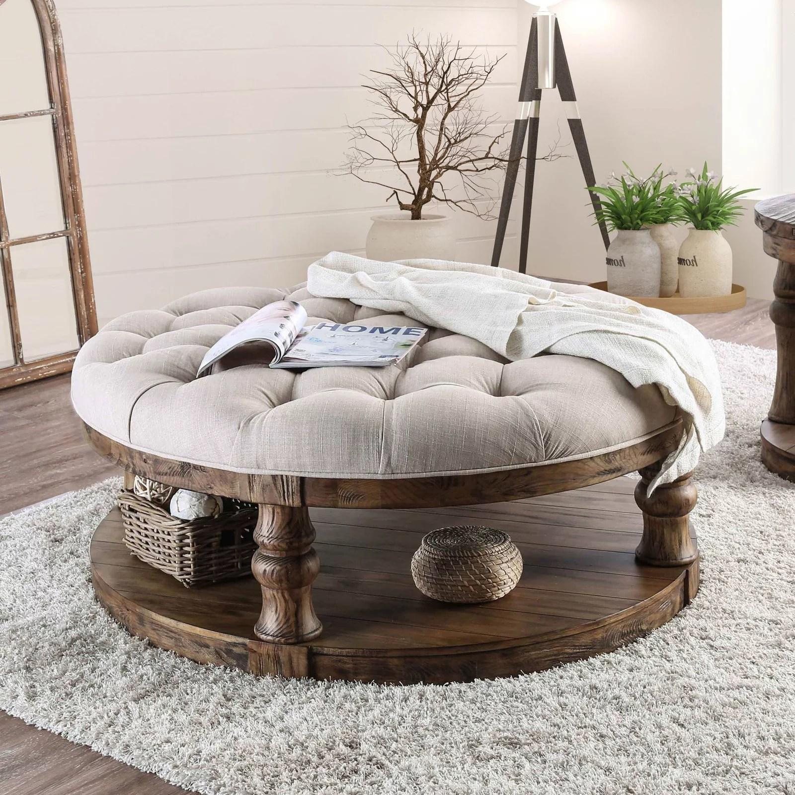 furniture of america tanenbaum rustic round coffee table ottoman