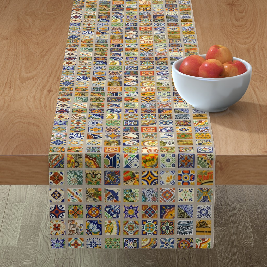 table runner mexican talavera tile c colorful kitchen world cotton sateen