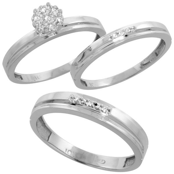 His   Hers Sets   Walmart com 10k White Gold Diamond Trio Engagement Wedding Ring Set for Him 4mm and Her  3 mm