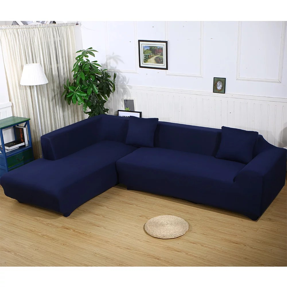 sofa covers for l shape 2pcs polyester fabric stretch slipcovers 2pcs pillow covers for sectional sofa l shape couch solid color blue
