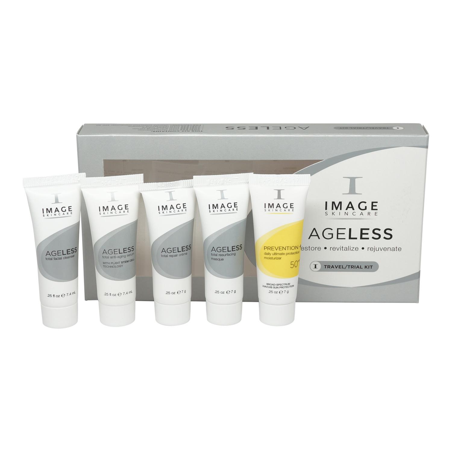 Image Ageless Travel Kit Total Facial Cleanser, Total Anti-Aging Serum, Total Repair Creme, Total Resurfacing Masque, Prevention+ Ultimate Protection Moisturizer SPF 50 – 4 x 0.25 oz