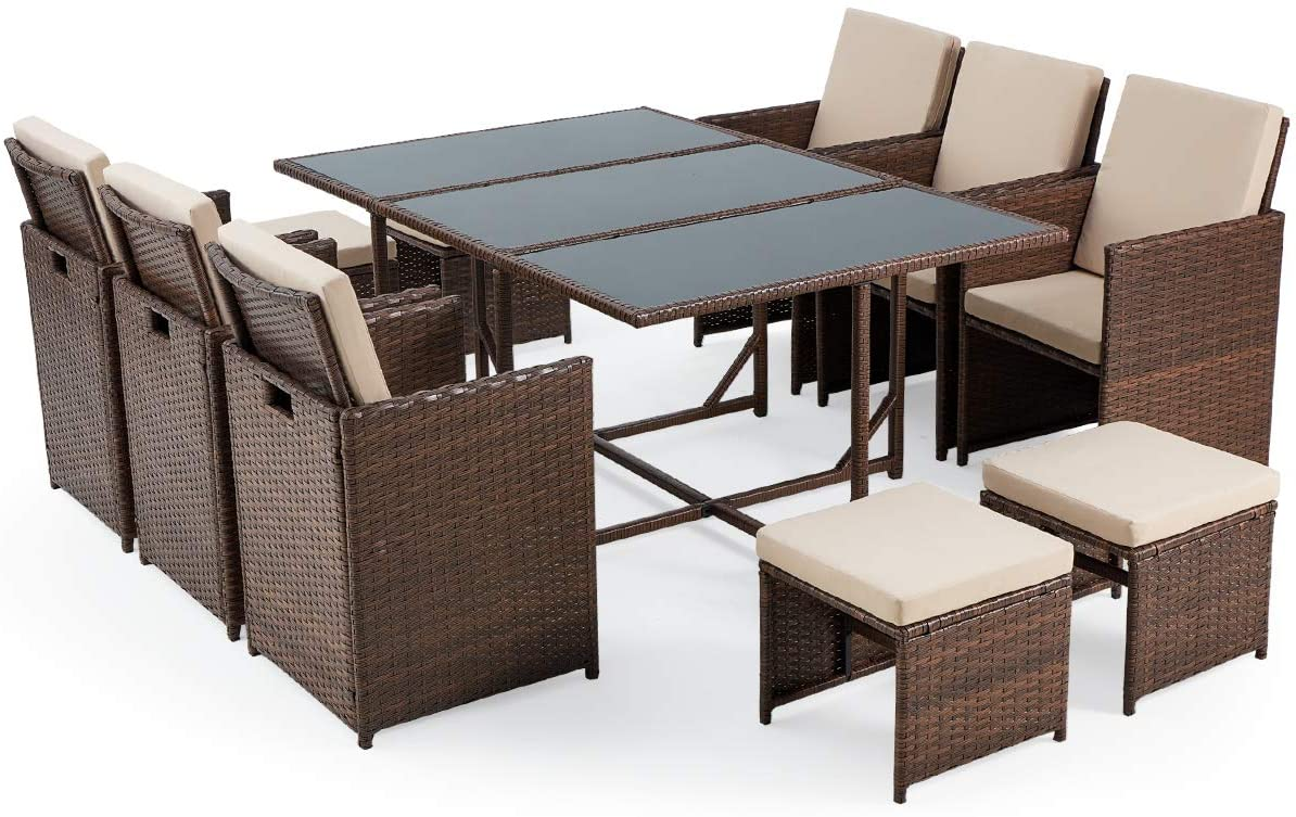erommy 11 pieces patio dining set outdoor wicker rattan chairs with glass table patio furniture set with ottoman and cushions dust cover walmart com