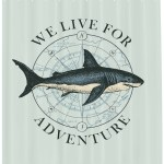 Blue Nautical Shower Curtain We Live For Adventure Marine Calligraphy With A Shark Fabric Bathroom Set With Hooks Pale Blue And Dark Violet Blue By Ambesonne Walmart Com Walmart Com
