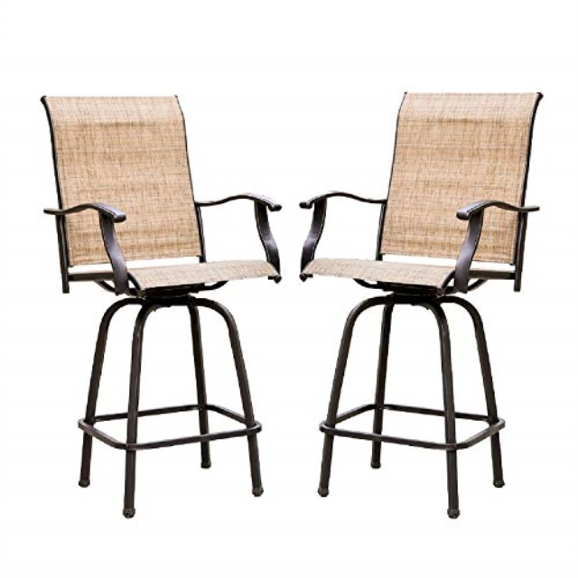 lokatse home 2 piece swivel bar stools outdoor high patio furniture with all weather metal frame 2 chairs