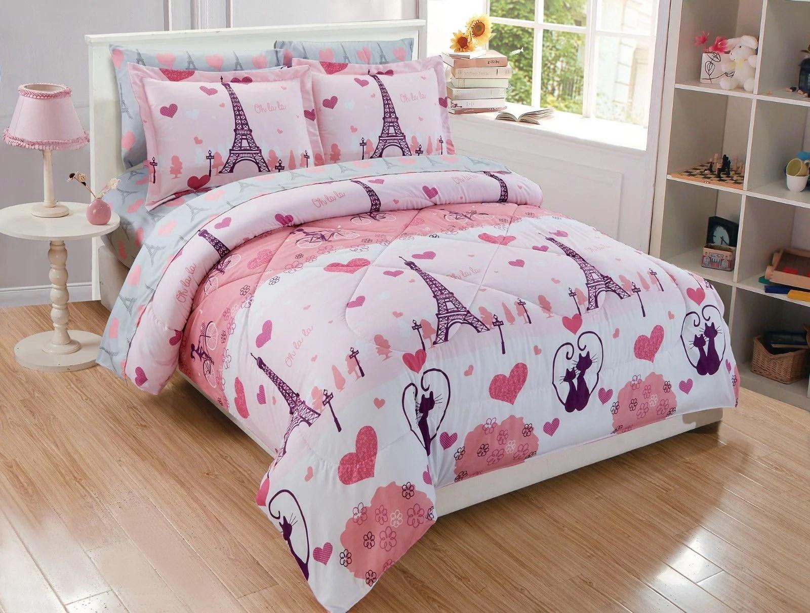 fancy linen 5pc twin size comforter set girls eiffel tower paris hearts pink grey new