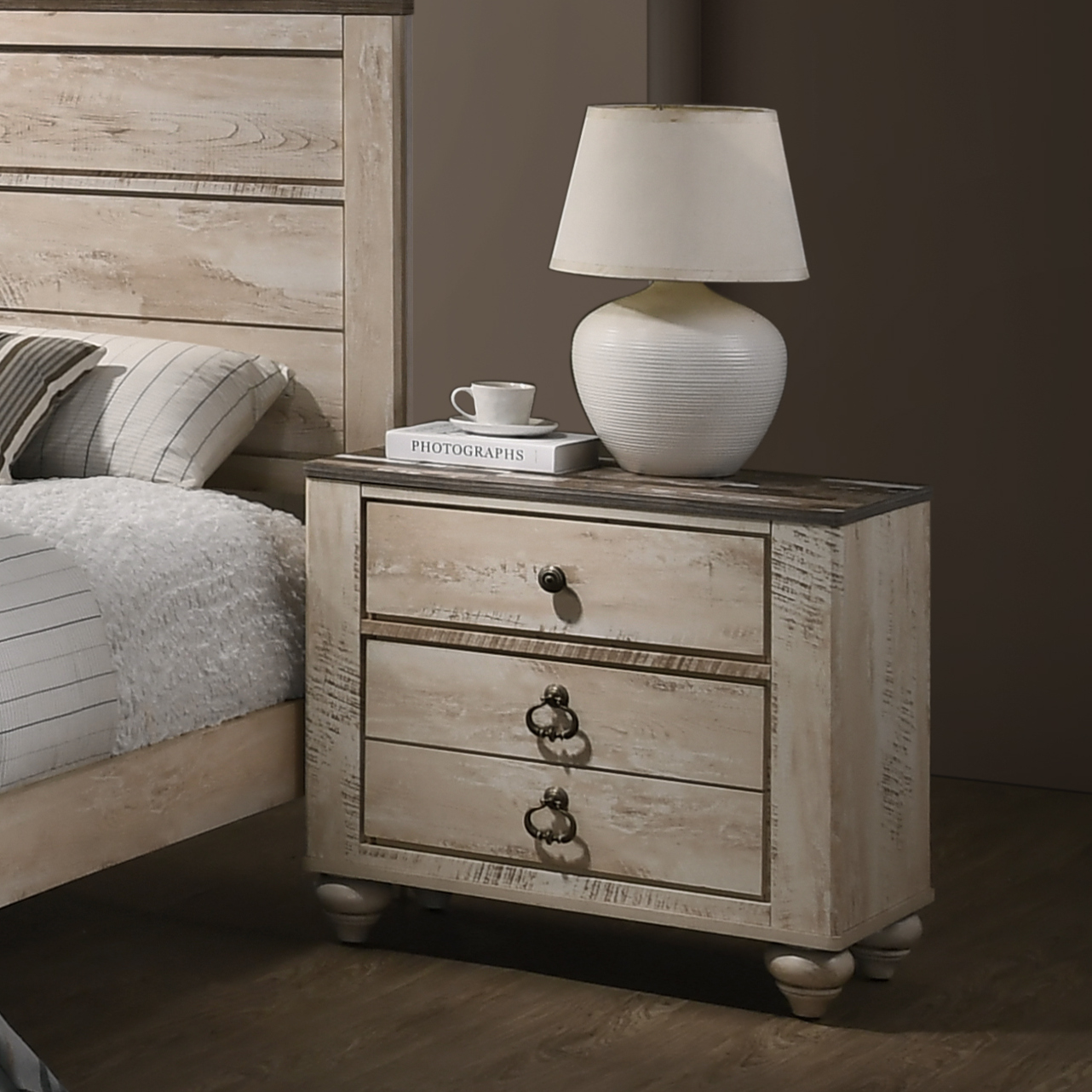 roundhill imerland contemporary white wash finish patched wood top 3 drawer nightstand