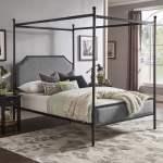 Weston Home Hazleton Black Metal Queen Canopy Bed With Grey Upholstered Headboard And Footboard Walmart Com Walmart Com