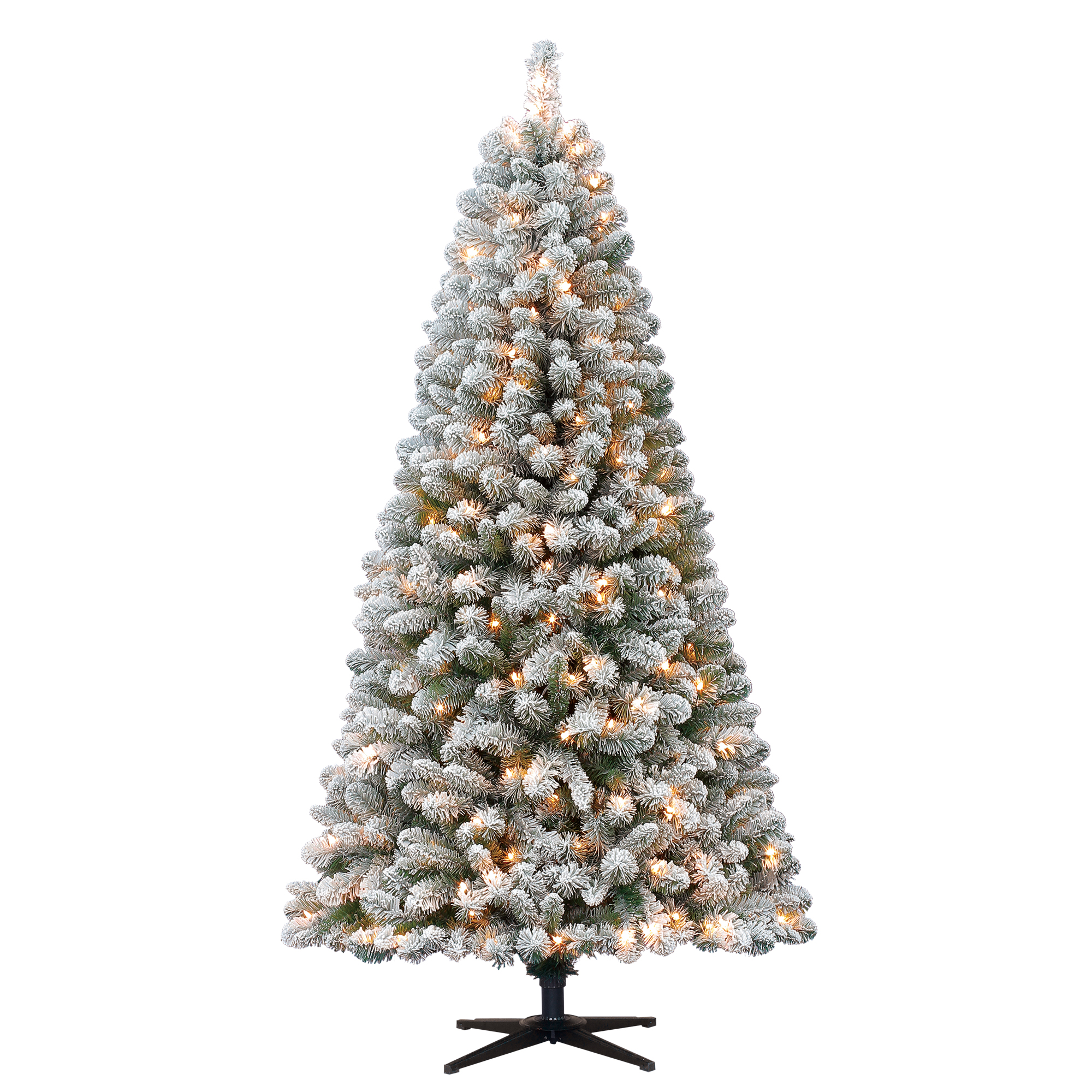 Holiday Time Flocked Pine Christmas Tree 6 5 Ft White On Green Walmart Com Walmart Com