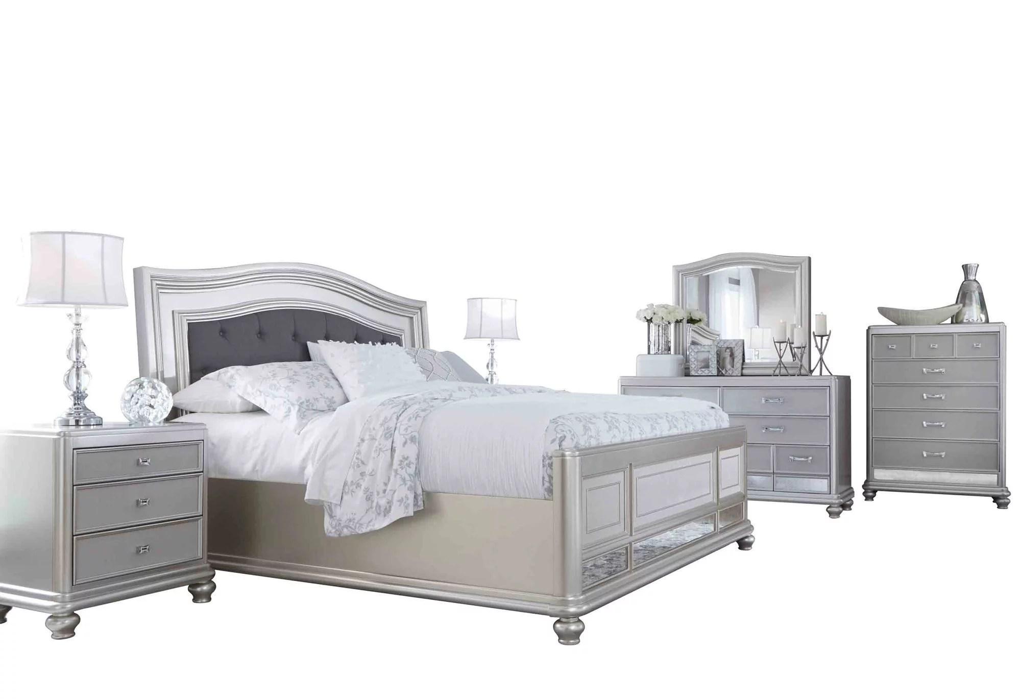 Ashley Furniture Coralayne 6 Pc Bedroom Set Queen Upholstered Bed 2 Nightstand Dresser Mirror Chest Silver Walmart Com Walmart Com