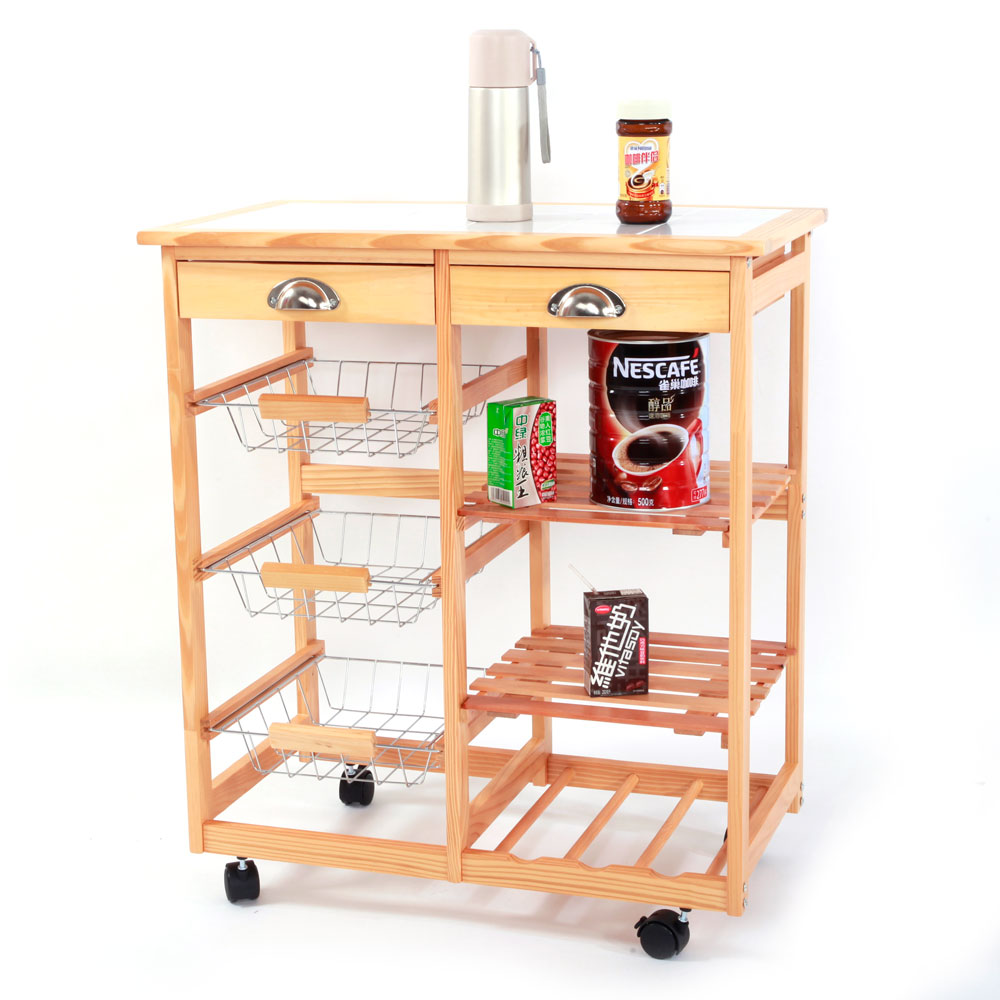 microwave stand rolling microwave cart wood kitchen storage cart dining trolley kitchen island with 2 drawers 3 fruit baskets 2 wine rack i5325