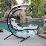 Belleze Hanging Chaise Beige Lounger Chair Arc Stand Canopy Air Porch Swing Hammock Chair Walmart Com