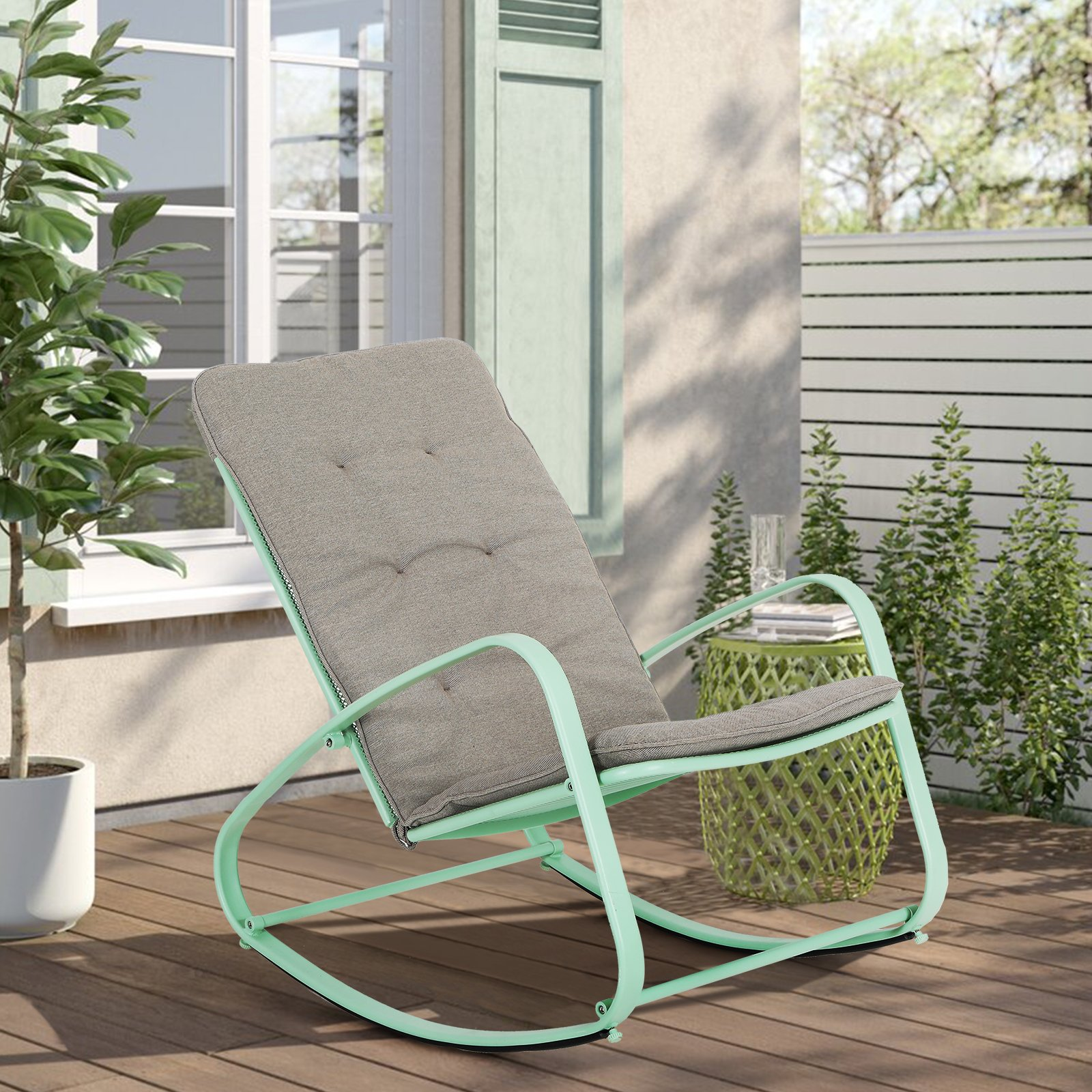 captiva designs outdoor rocking chair metal rocking chair with cushion