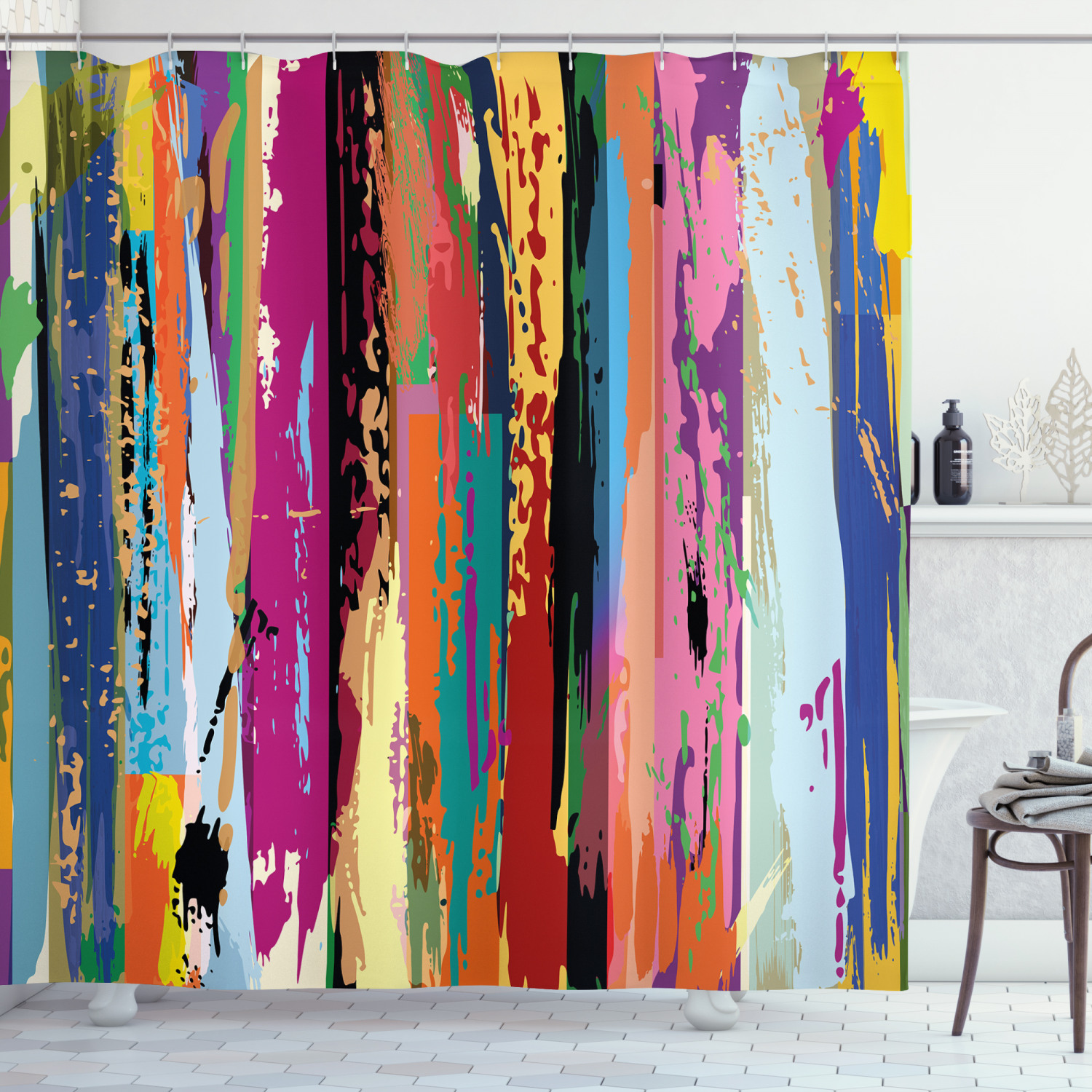 abstract shower curtain multicolored expressionist work of art vibrant rainbow design tainted pattern fabric bathroom set with hooks 69w x 70l