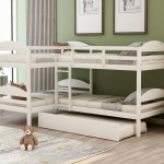 Twin L Shaped Bunk Bed With Trundle White Walmart Com Walmart Com