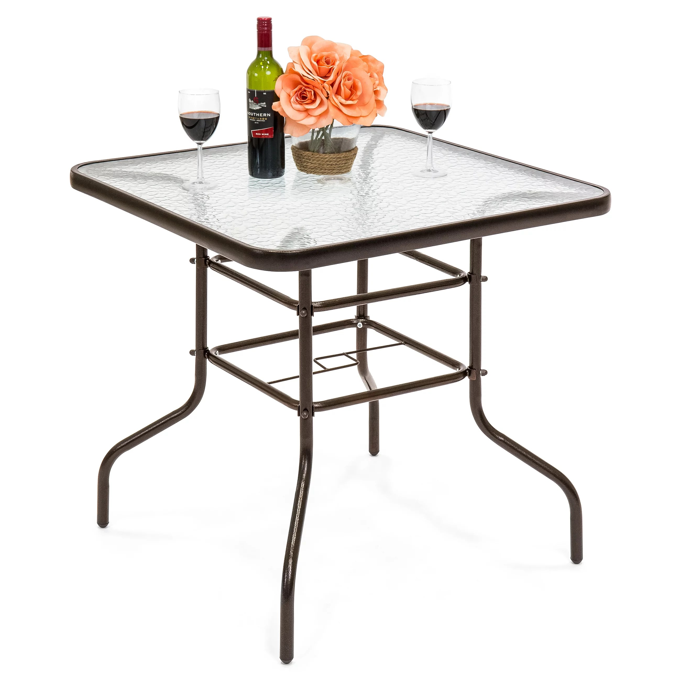 best choice products 32in square tempered glass outdoor patio dining bistro table w umbrella hole steel frame walmart com