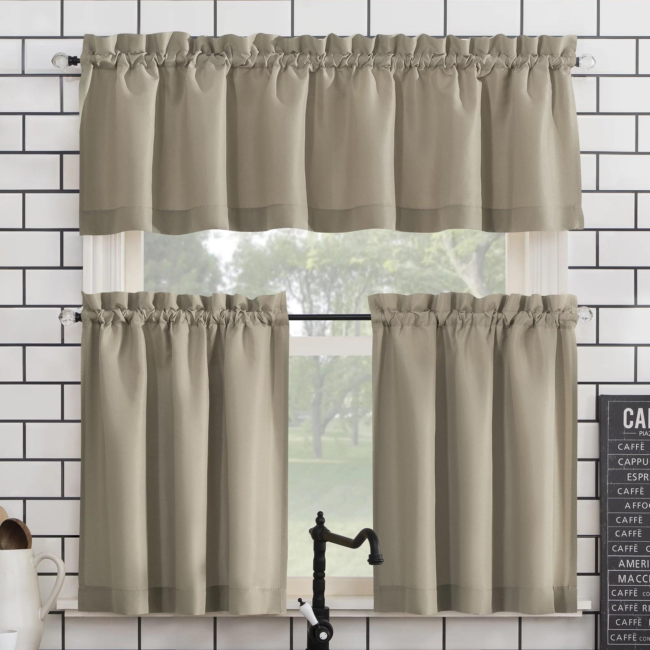 mainstays solid 3 piece kitchen curtain set