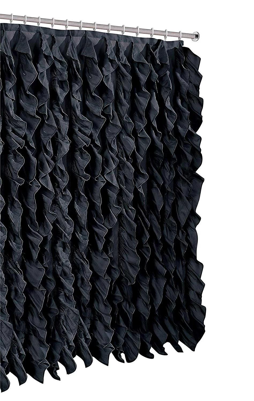 waterfall shabby chic ruffled fabric shower curtain black walmart com