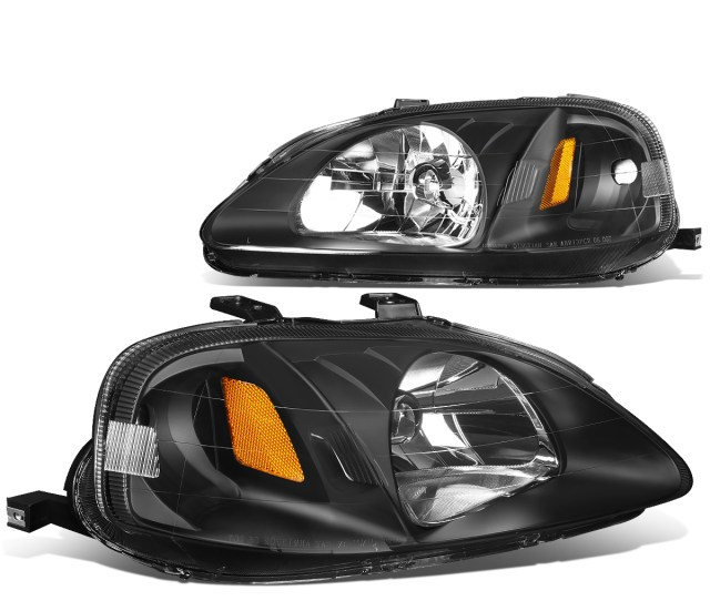 For 99 00 Honda Civic Replacement Headlight Black Housing Amber Corner Headlamps Ej Ek Em