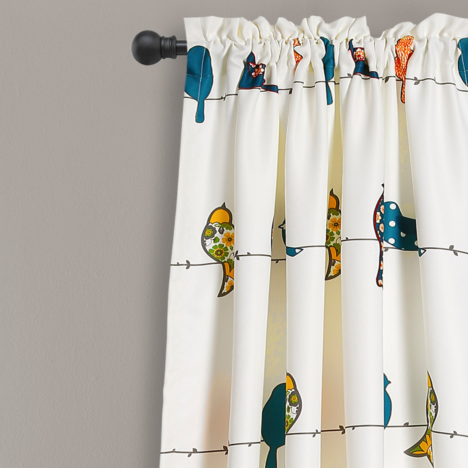 lush decor rowley birds room darkening 84 x 52 2 header animal print multi 100 polyester 3 rod pocket 2 pc set window panel