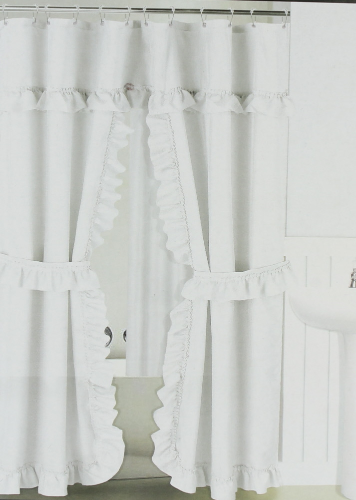 white ruffled double swag shower curtain liner 70 x 72 w 12 roller rings