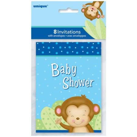 Blue Monkey Baby Shower Invitations 8 Count