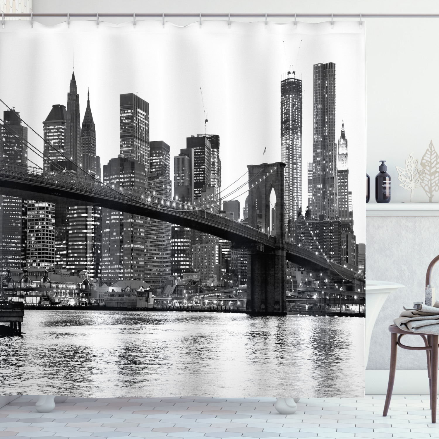 modern shower curtain brooklyn bridge sunset with manhattan american new york city famous town image fabric bathroom set with hooks black and