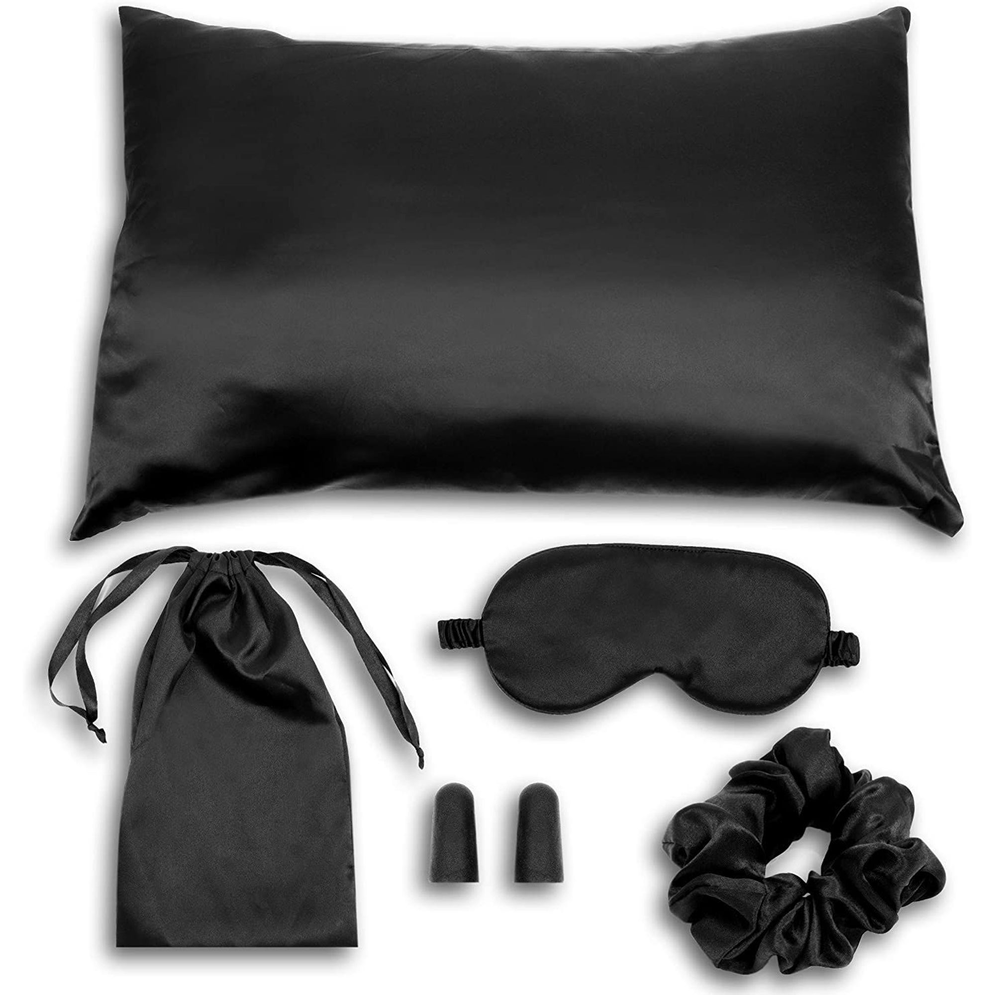 zodaca travel sleeping kit accessories includes pillow cover eye mask ear plugs scrunchie black satin
