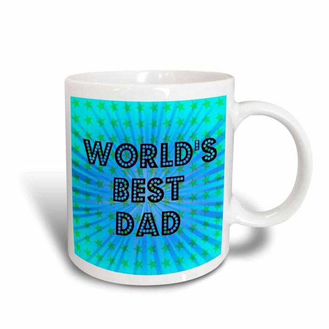 3dRose Worlds Best Dad Stars - Fathers Day - Art, Ceramic Mug, 15-ounce