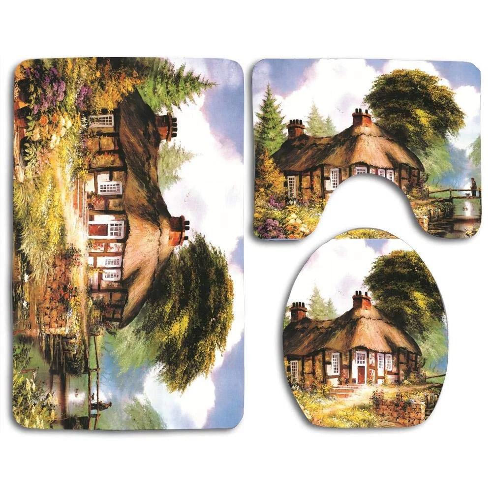 gohao cottage farm tree garden 3 piece bathroom rugs set on farmhouse colors for bath mats walmart id=54678
