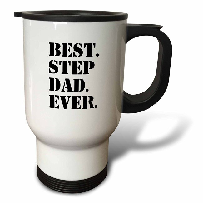 3dRose Best Step Dad Ever - Gifts for family and relatives - stepdad - stepfather - Good for Fathers day, Travel Mug, 14oz, Stainless Steel