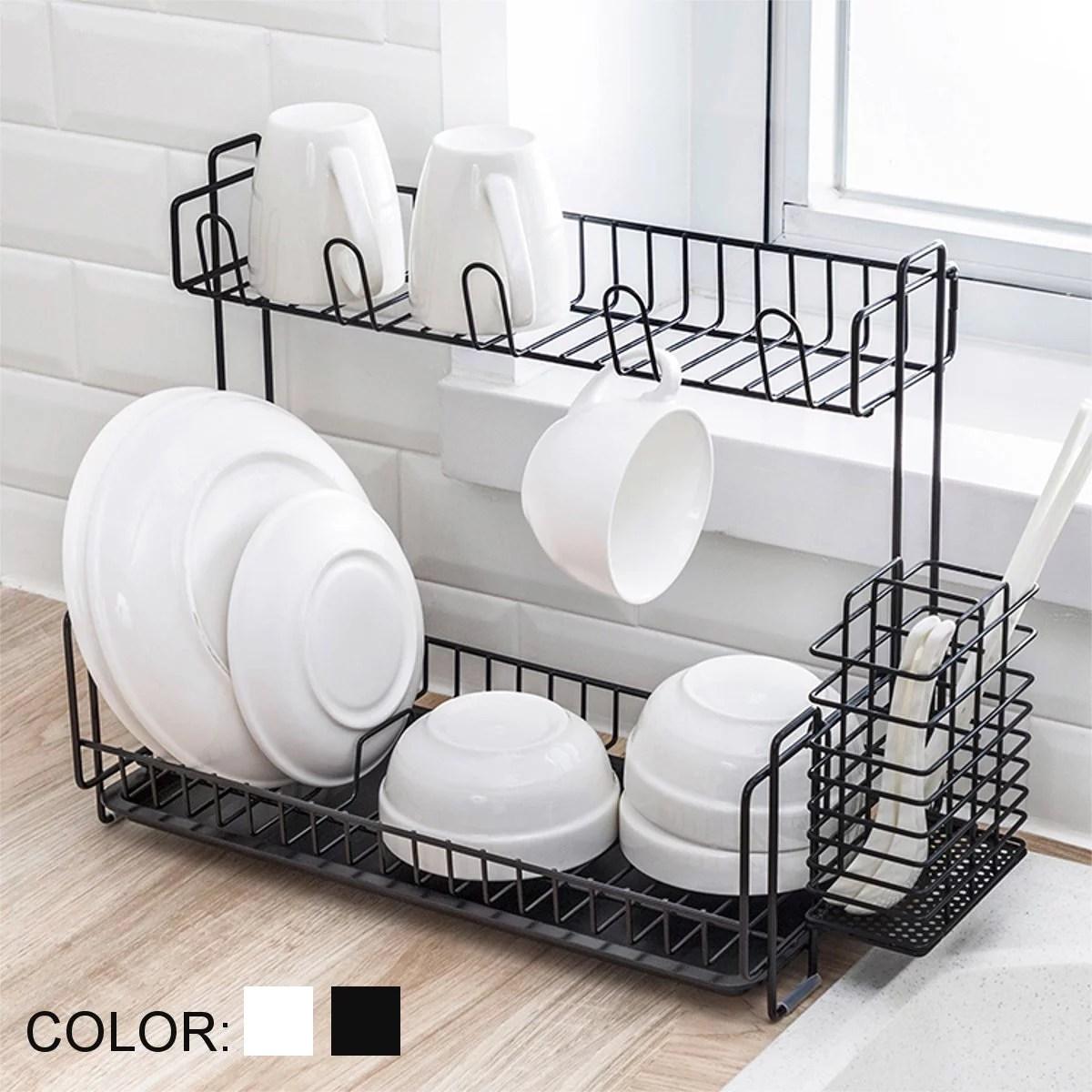 dish drying rack 2 tier large dish rack stainless steel dish drainer easy install non slip dish dryer utensil holder rustproof dish drainer
